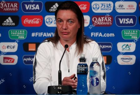 France's head coach Corinne Diacre attends a press conference ahead of the quarter final match between France and the USA at the FIFA Women's World Cup 2019 in Paris, France, 27 June 2019.