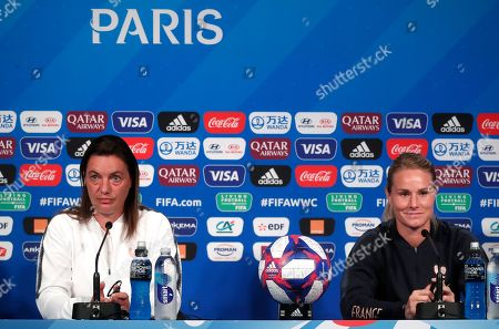 Stock Photo of France's head coach Corinne Diacre (L) and player Amandine Henry attend a press conference ahead of the quarter final match between France and the USA at the FIFA Women's World Cup 2019 in Paris, France, 27 June 2019.