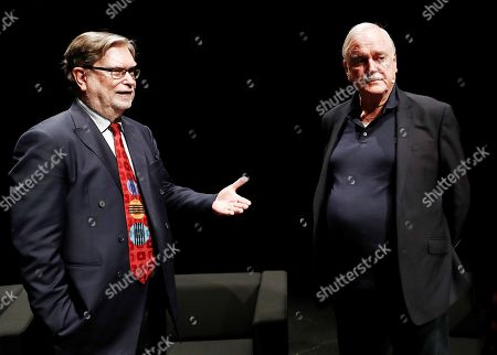 British comedian John Cleese (R) and Nobel latureate in Physics George Smoot (L) attend a meeting with the media at Baluarte congress Center in Pamplona, Spain, 27 June 2019. Cleese and Smoot are to assist to the ScienciaEkaitza scientific contest gala this afternoon.