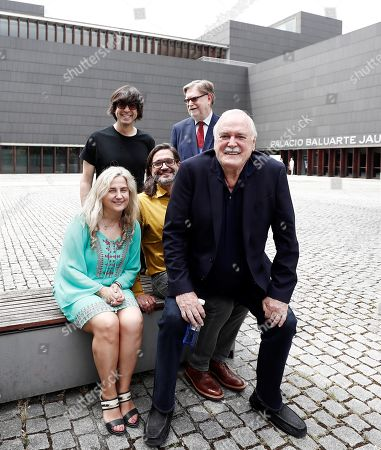 British comedian John Cleese (R) and Nobel latureate in Physics George Smoot (rear, 2R) and other participants pose outside Baluarte congress Center in Pamplona, Spain, 27 June 2019. Cleese and Smoot are in Pamplona to attend the ScienciaEkaitza scientific contest gala this afternoon.