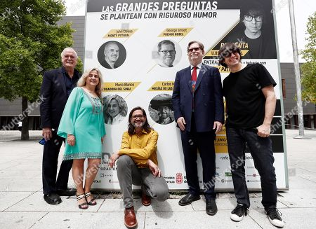 British comedian John Cleese (L), Nobel latureate in Physics George Smoot (2-R) and other participants pose outside Baluarte congress Center in Pamplona, Spain, 27 June 2019. Cleese and Smoot are in Pamplona to attend the ScienciaEkaitza scientific contest gala this afternoon.