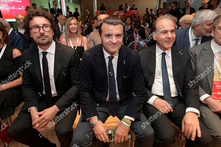 Danilo Toninelli, Gian Marco Centinaio and Gianfranco Battisti during the Presentation of the Plan for the development of tourism