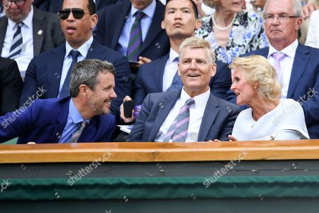 Crown Prince Frederik of Denmark and Gill Brook on Centre Court