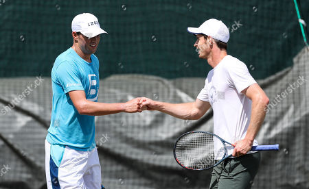 Andy Murray and Bob Bryan on the Aorangi practice courts