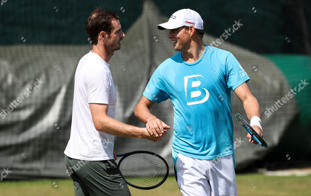 Stock Photo of Andy Murray and Bob Bryan on the Aorangi practice courts