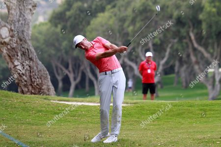 British golfer Ross Fisher in action during the Andalucia Masters at the Valderrama club golf course in San Roque, Spain, 27 June 2019.