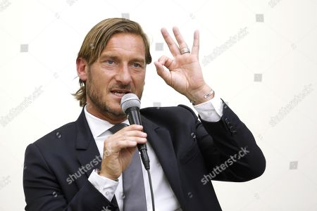 Former AS Roma captain Francesco Totti during a press conference at the offices of the Italian Olympic Committee (CONI)