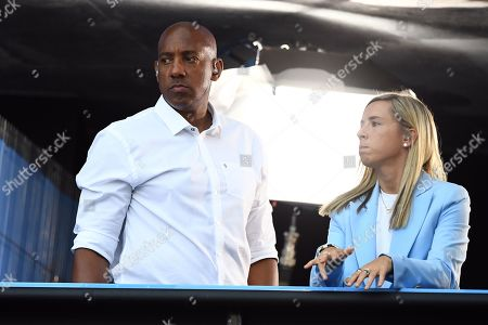 Stock Photo of Dion Dublin and Jordan Nobbs working for BBC Sport
