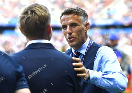 England manager Phil Neville greets Martin Sjogren head coach of Norway