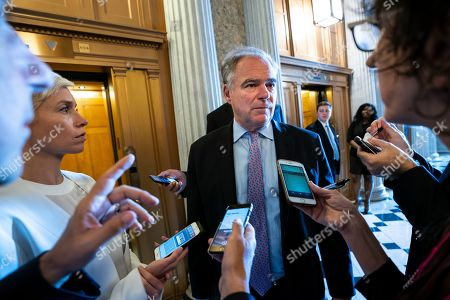 Democratic Senator from Virginia Tim Kaine speaks to reporters about the border bill showdown between House and Senate lawmakers in the US capitol in Washington, DC, USA, 27 June 2019. On 26 June the Senate passed their own version of a border aid package, sending the bill back to the House.