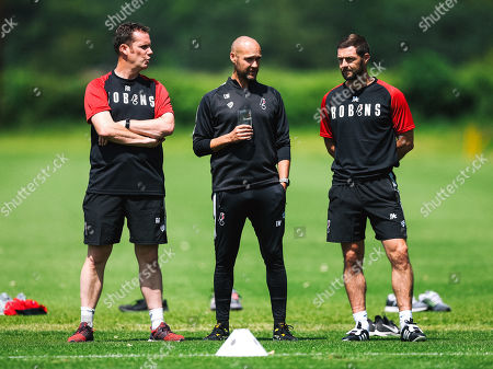 Stock Picture of Andy Rolls, Luke Williams and Assistant Head Coach Jamie McAllister look on as Bristol City return for Day 1 of pre-season training ahead of the 2019/20 season