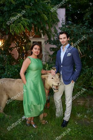 Stock Image of Nazy Vassegh and Mark-Francis Vandelli attend Kate Braine's Summer Exhibition 'Tendril Is The Night'