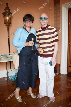 Helen Beard and her husband attend Kate Braine's Summer Exhibition 'Tendril Is The Night'