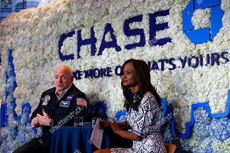Retired NASA Astronaut, Scott Kelly, speaks with Racquel Oden, Chase Northeast Divisional Director, at a Chase Chat at the bank's NYC Flagship branch on in New York