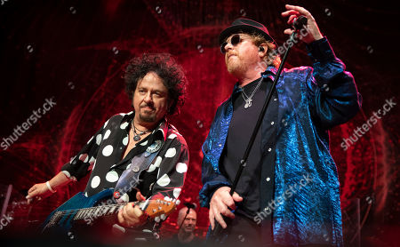 Stock Photo of Steve Lukather (L) and Joseph Williams (R) of the US rock band Toto perform during their concert at the Papp Laszlo Budapest Sports Arena, in Budapest, Hungary, 27 June 2019.