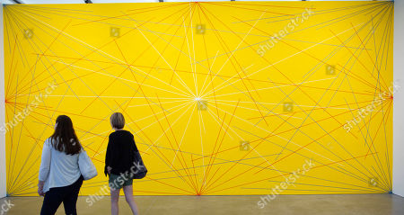 Visitors inspect the drawing 'Wall Drawing 280, 1976' by United States artist Sol LeWitt, as a part of the exhibition 'Less Is a Bore: Maximalist Art and Design', at the Institute of Contemporary Art in Boston, Massachusetts, USA, 27 June 2019. The exhibition features over 60 works by more than 40 artists, including artists Sol LeWitt and Jasper Johns.