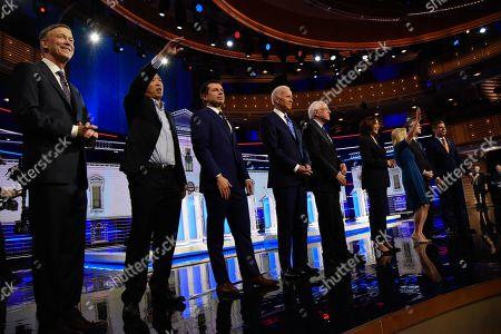 John Hickenlooper, Andrew Yang, Eric Swalwell, Joe Biden, Bernie Sanders, Kamala Harris and Kirsten Gillibrand