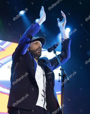 Juan Luis Guerra performs during a concert of his 'Literal Tour' at the Wizink Center in Madrid, Spain, 27 June 2019.