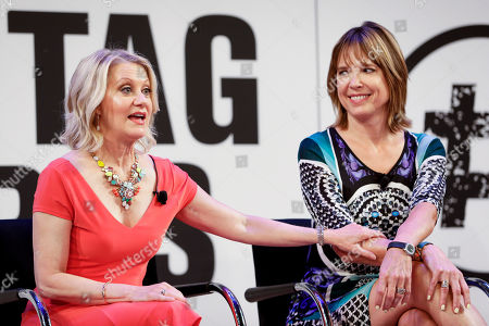 Veteran sports anchors Andrea Kramer and Hannah Storm speak on a panel for Amazon Prime Video at the Hashtag Sports conference at the TimesCenter on in New York