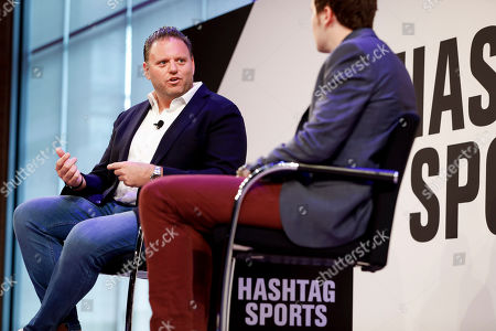 Stock Image of Bleacher Report CEO Howard Mittman speaks with Ben Mullin of the Wall Street Journal during the Hashtag Sports conference at the TimesCenter on in New York