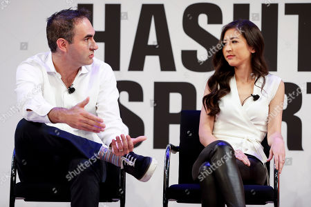 Stock Image of ESPN's Connor Schell and Mina Kimes speak at the Hashtag Sports conference at the TimesCenter on in New York