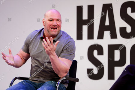 President Dana White speaks with Jason Gay of the Wall Street Journal during the Hashtag Sports conference at the TimesCenter on in New York