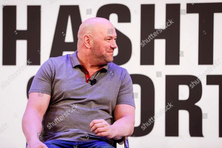President Dana White speaks with Jason Gay of the Wall Street Journal during the Hashtag Sports conference at the TimesCenter on Thursday, on in New York
