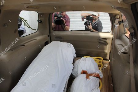 The bodies of Salvadoran migrants Oscar Martinez and his daughter Valeria in a vehicle during the transfer of bodies to relatives in Matamoros, Tamaulipas, Mexico, 27 June 2019 (issued 28 June 2019). Mexican authorities transfered the bodies of Oscar Alberto Martinez and his daughter Valeria, who drowned at the Rio Grande earlier on the same week after attempting to cross to the United States.
