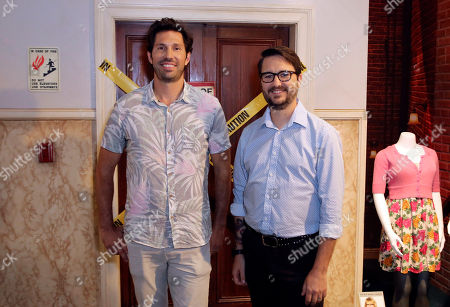 "Stock Picture of Brian Thomas Smith, Wil Wheaton. Brian Thomas Smith, left, and Wil Wheaton pose in front of the famous elevator set during the ""Big Bang Theory"" set visit and Q&A at the Warner Brothers Studios, in Burbank, Calif"