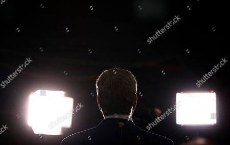 Democratic presidential candidate New York City Mayor, Bill de Blasio speaks to the media before the Democratic primary debate hosted by NBC News at the Adrienne Arsht Center for the Performing Arts, in Miami