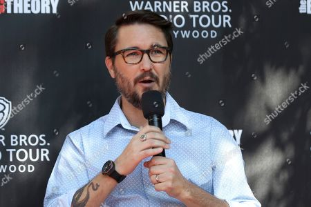 "Wil Wheaton speaks at the ""Big Bang Theory"" set visit and Q&A at the Warner Brothers Studios, in Burbank, Calif"