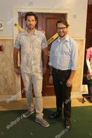 "Brian Thomas Smith, Wil Wheaton. Brian Thomas Smith, left, and Wil Wheaton pose in front of the famous elevator set during the ""Big Bang Theory"" set visit and Q&A at the Warner Brothers Studios, in Burbank, Calif"