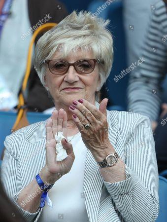 Sandra Beckham mother of David Beckham watches from the stands