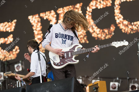 The Vaccines performing on the Other Stage - Justin Hayward-Young, Arni Arnason - the first main stage band of the festival