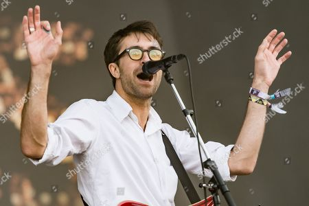 The Vaccines performing on the Other Stage - Justin Hayward-Young - the first main stage band of the festival