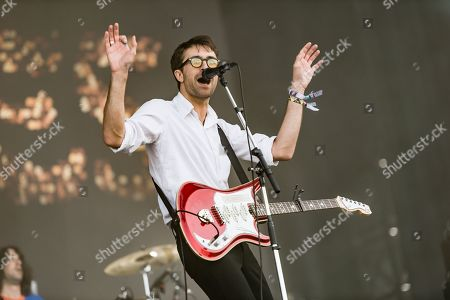 Stock Image of The Vaccines performing on the Other Stage - Justin Hayward-Young - the first main stage band of the festival
