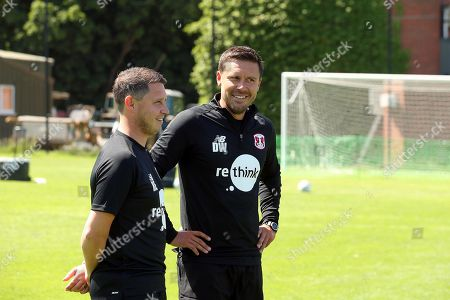 Stock Image of Leyton Orient Interim Head Coach Ross Embleton (L) and Assistant Danny Webb during a pre-season training session at the Chigwell Training Ground on 27th June 2019