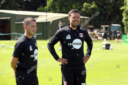 Stock Photo of Leyton Orient Interim Head Coach Ross Embleton (L) and Assistant Danny Webb during a pre-season training session at the Chigwell Training Ground on 27th June 2019