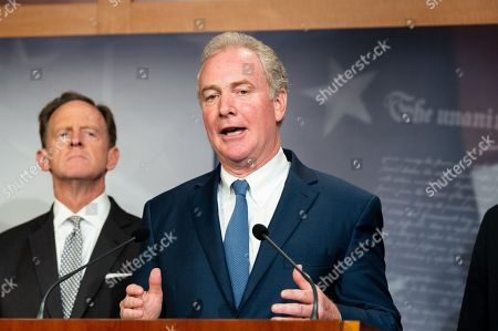 U.S. Senator Chris Van Hollen (D-MD) speaking at a press conference on sanctions on North Korea in the National Defense Authorization Act at the US Capitol in Washington, DC.