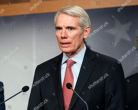 U.S. Senator Robert Portman (R-OH) speaking at a press conference on sanctions on North Korea in the National Defense Authorization Act at the US Capitol in Washington, DC.