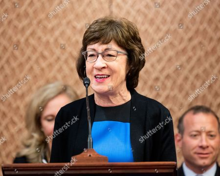 "U.S. Senator Susan Collins (R-ME) speaking at a press conference sponsored by the Problem Solvers Caucus and the Common Sense Coalition to announce ""principles for legislation to lower prescription drug prices"" at the US Capitol in Washington, DC."