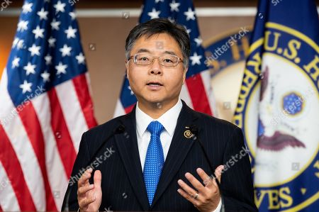 U.S. Representative Ted Lieu (D-CA) speaking at a press conference to discuss the introduction of election interference legislation in Congress at the US Capitol in Washington, DC.