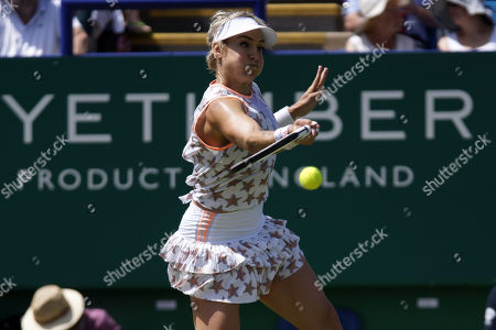 Stock Picture of Simona Halep, Raluca Olaru (ROU) Vs Kirsten Flipkens (BEL), Bethanie Mattek Sands (USA) Action at the Nature Valley International 2019 at Devonshire Park, Eastbourne. Picture by Jonathan Dunville