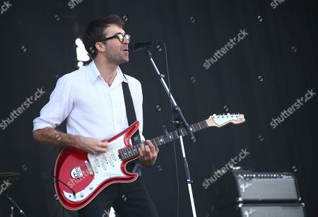 Justin Hayward-Young of The Vaccines performs on the third day of Glastonbury Festival at Worthy Farm, Somerset, England