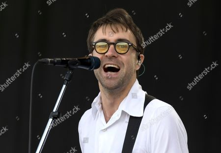 Justin Hayward-Young of The Vaccines performs on the third day of the Glastonbury Festival at Worthy Farm, Somerset, England