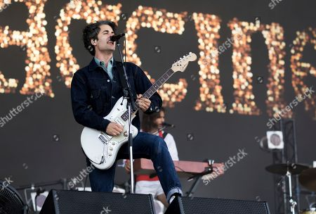 Stock Image of Freddie Cowan of 'The Vaccines performs on the third day of the Glastonbury Festival at Worthy Farm, Somerset, England
