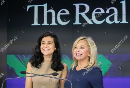 Stock Picture of Julie Wainwright, right, CEO of The RealReal, and Rati Levesque, Chief Operating Officer, attend the company's IPO at Nasdaq, in New York. The online reseller of luxury brand clothing and accessories is based in San Francisco