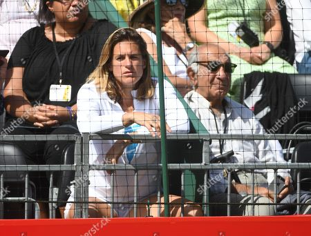 Former French tennis player Amelie Mauresmo (L) watch the match between Spain's Rafael Nadal and France's Lucas Pouille at the Aspall Classic tennis at the Hurlingham club in London, Britain, 28 June 2019.