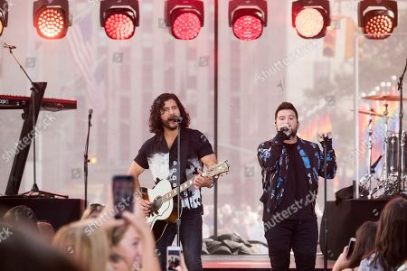Shay Mooney, Dan Smyers. Dan Smyers, left, and Shay Mooney from the band Dan + Shay perform on NBC's Today show at Rockefeller Plaza, in New York