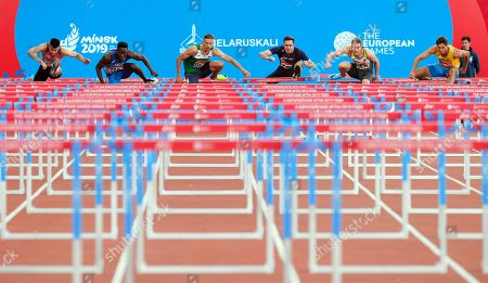 (L-R) David Ryba of the Czech Republic, Hassane Fofana of Italy, Vitali Parakhonka of Belarus, Simon Krauss of France, Maximilian Bayer of Germany, and Artem Shamatrin of Ukraine compete in the men's 110m Hurdles race of the Dynamic New Athletics final at the Minsk 2019 European Games in the Dinamo Stadium in Minsk, Belarus, 28 June 2019.